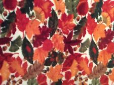 "Rare Autumn Fall colored leaves nature print fleece fabric, 60"" by 33.5"""