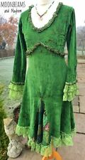 STRIKING GREEN VELVET GODDESS DRESS SIZE UK 12 US 10 BOHO HIPPIE GYPSY SKIRT TOP