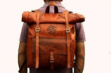 Retro Looking Leather Roll on Backpack / Rucksack Vintage Bag Camping Bag