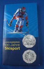 5 Euro Münze Österreich Silber OVP 100 Jahre Skisport