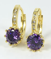 Women's 18 Carat Gold plated Purple Cubic Zircon Earrings Jewellery