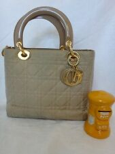 CHRISTIAN DIOR Lady Dior BEIGE Quilted Cannage Tote Purse Bag Vtg