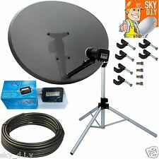 Freesat / Sky 80cm Zone 2 Satellite Dish,Quad,Tripod,finder & 20m Black RG6 Coax