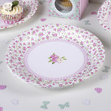 8 PAPER PLATES FRILLS & SPILLS Vintage Party Wedding Pink White Sage Green Roses