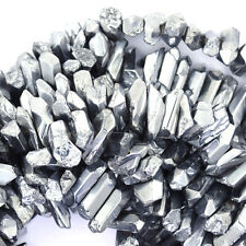 "20-24mm silver radiatd crystal stick tooth beads 15"" strand"