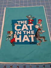 "Fabric Dr Seuss Cat in the Hat Characters Blue Quilt Sq 11 1/2"" X 8  1/2"""