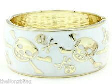 Gothic Punk Biker Hinged Bangle Bracelet Gold with White Skulls