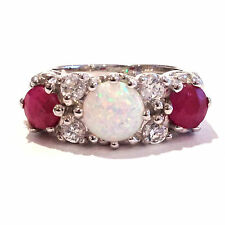 ART NOUVEAU INSPIRED WHITE GILSON OPAL AND RUBY TRILOGY RING 925 SILVER SIZE 8