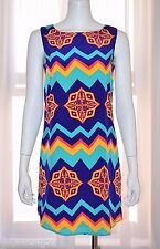 PEACH LOVE Blue Summer Day Cocktail Sun Dress sz 4 Small S Sundress NEW