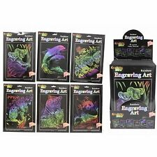 Engraving Art Rainbow Set Kit Stencils Tool Craft Magic Drawing Paper Scratch It