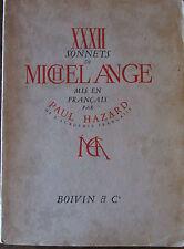 32 sonnets de Michel Ange par Paul Hazard 1942 illustrations