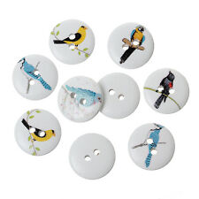 10  Assorted Bird Designs Wooden  Buttons 15mm Sewing crafts accessories Free P&