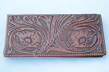 Western Genuine Leather Bifold Men's Rodeo Long Wallet Hand Tooled Floral
