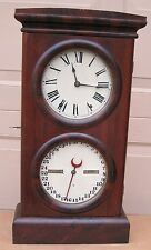 ANTIQUE 1880 .SETH THOMAS DOUBLE DIAL CALENDAR CLOCK. WORKING