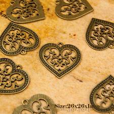 3 Antique Vintage Style Bronze Love Heart Charms Pendant 007