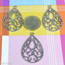 8 Fornituras/Colgantes Para Pendientes 42x28mm  T148C  Plata Tibetana Earrings