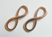 4 Large Metal Rose Gold Colour Infinity Charms/Connectors - 30mm x 10mm