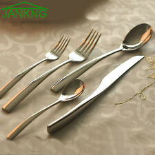 5 Pcs Silver Flatware Set Cutlery Silverware Dinner Service Fork Tea Spoon Knife