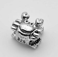 LOOK European Cancer Zodiac Crab Real Auth Sterling silver jewelry bead Charm pe