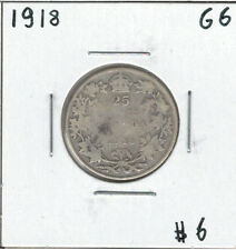 Canada 1918 Silver 25 Cents G6