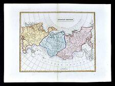 1839 Bell Atlas Map - Russian Empire - Europe Asia Siberia Tobolsk Irkoutsk
