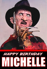 SCARY FREDDIE KRUGER A5 Personalised Birthday Card!! ANY NAME / AGE GREAT !!!!!