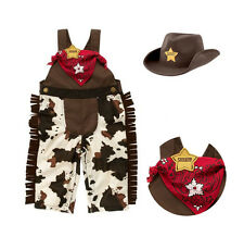 3pcs Baby Boy Kids Cowboy Hat+Bib+Pants Outfit Set Suit Party Clothes 12-18M