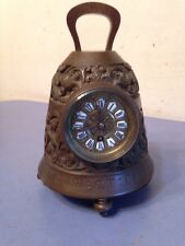 Rare Antique French Bronze Monk's Bell Form Clock Religious Inscription