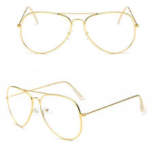 GOLD Clear Lens Aviator Glasses Classic Pilot Tear Drop Frame Men Woemen's