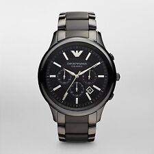 New Emporio Armani AR1451 Black Ceramica Chronograph Mens Watch