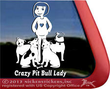 Crazy Pit Bull Lady Decal | High Quality Vinyl Pitbull Dog Window Decal