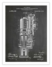 FIRST HARLEY MOTORCYCLE ENGINE POSTER BLACKBOARD INVENTION 1914 US PATENT PRI...