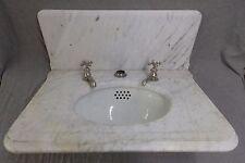 Antique Marble Top Sink Back Splash Porcelain Basin Nickel Brass Faucets 1037-16