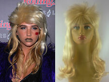 DELUXE WOMENS LONG BLONDE KESHA 70's 80's 90's CURLY FASHION ROCKER MULLET WIG
