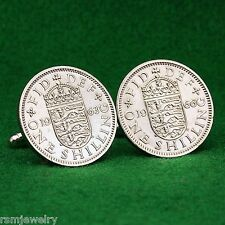 British Crest Shilling Coin Cufflinks,  Crowned Shield QE2 Great Britain England