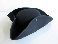 ADULT BLACK COLONIAL PIRATE TRICORNE TRI-CORNER TRICORN COSTUME HAT