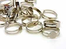 20 X Antiguo Color Plata Ajustable Anillo Blanks 8mm Plana Pad Pegamento Craft S173