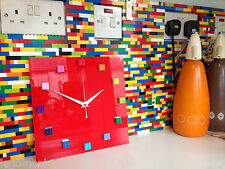 Handmade MOnkiStuff Designed Wall Clock Gloss Red,made with Rainbow LEGO® Bricks