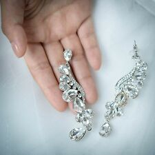Bridal Wedding Teardrop Art Deco Earrings Pierced Dangle Austrian Crystal