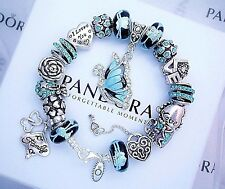 Authentic Pandora Silver Bracelet with Blue Butterfly Love European Charms