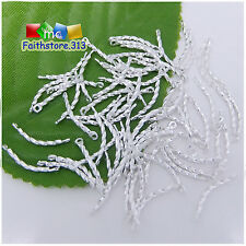100 Pcs Silver Plated Helical Twisted Curved Links Connectors Findings 13mm P063