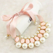 Women New Fashion Luxury Sweet Pearl Ribbon Bib Choker Statement Collar Necklace