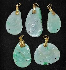 "5 Chinese Carved Green & White JADEITE Jade Vermeil Pendants  (1.7"" to 1.4"")"