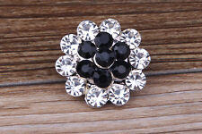 White/Black Rhinestone flower Charm Chunk Snap Button fit for Noosa Bracelet A80