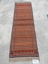 2x7ft. Interesting Kurdish Sumak Flatweave Orange Wool Runner