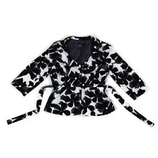 Sandro (Size 8-10) Black and White Belted Semi-Casual Dress Jacket