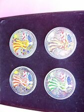 2000 Color Painted American Eagle Season Collection 4 Coin Silver Dollar Set :