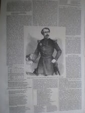 General Lamoriciere commander Papal vatican army 1860 old print and article
