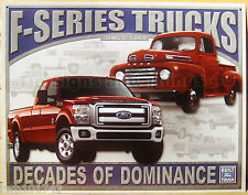 Ford F Series Decades of Dominance TIN SIGN vtg truck metal garage decor ad 1708
