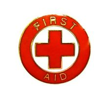 First Aid Red Cross Lapel Pin Gold Trim Cap Tac Tack Metal Clutch Back 69G1 New